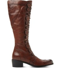 Dune Pixie D Leather Knee High Boots Tan Leather