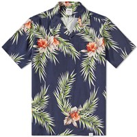 Bedwin And The Heartbreakers Rogers Open Collar Aloha Shirt Blue