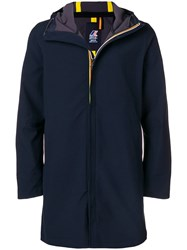 K Way Hooded Zipped Coat Blue