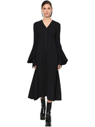 Loewe Flared Wool Crepe Midi Dress Navy Blue