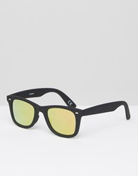 Asos Square Sunglasses In Matt Black With Rose Lens Black