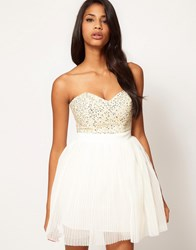 Lipsy Vip Embellished Bust Prom Dress Cream