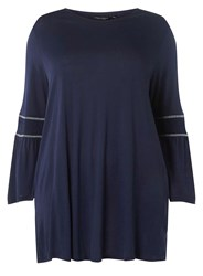 Dorothy Perkins Curve Plus Size Navy Shirred Sleeve Top Blue