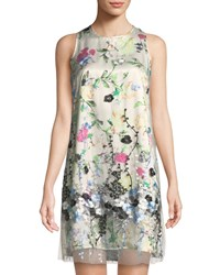 Neiman Marcus Floral Print Dress With Mesh Overlay Multi