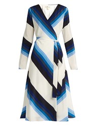Diane Von Furstenberg V Neck Striped Silk Crepe Wrap Dress Blue White