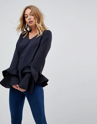 Vila Ruffle Hem Blouse With Tiered Sleeves Navy