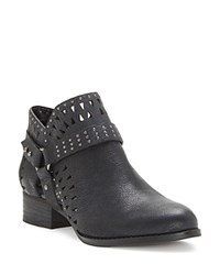 Vince Camuto Calley Cutout Stud Strap Booties Black Silver