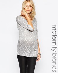 New Look Maternity Cut And Stitch Heart Tee Grey