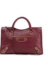 Balenciaga Metallic Edge City Textured Leather Tote Burgundy