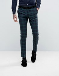 Noose And Monkey Super Skinny Suit Trousers In Check Green