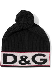 Dolce And Gabbana Intarsia Wool Blend Beanie Black