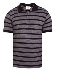 Double Two 100 Cotton Striped Polo Shirt Grey