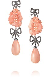 Lydia Courteille 18 Karat Blackened White Gold Diamond And Coral Earrings