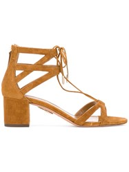 Aquazzura 'Beverly Hills 50' Cut Out Sandals Women Leather Suede 37 Brown
