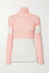 Victoria Beckham Striped Ribbed Cotton Blend Turtleneck Sweater Off White