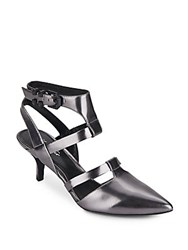 Kenneth Cole Pence Metallic Leather Cutout Point Toe Pumps Pewter