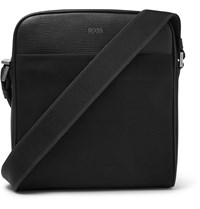 Hugo Boss Meridian Cross Grain Leather Trimmed Canvas Messenger Bag Black