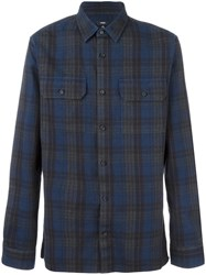 Vince Plaid Button Down Shirt Blue