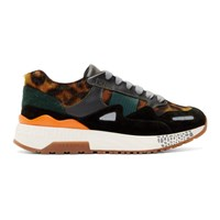 Versace Black And Brown Animalier Sneakers