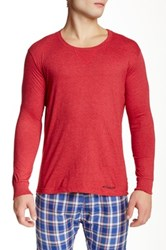 Bottoms Out Crew Neck Long Sleeve Tee Red