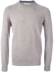 Brunello Cucinelli Crew Neck Jumper Nude And Neutrals