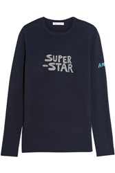 Bella Freud Super Star Metallic Intarsia Wool Blend Sweater Midnight Blue