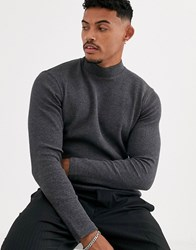 Bershka Join Life Waffle Long Sleeved Top With Turtleneck In Gray