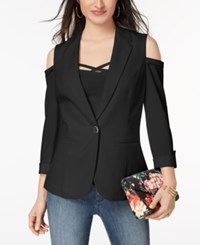 Xoxo Juniors' Cold Shoulder Blazer Caviar