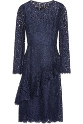 Dolce And Gabbana Ruffled Corded Lace Dress Navy