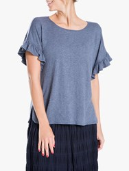 Max Studio Short Sleeve Frill Jersey Top Denim