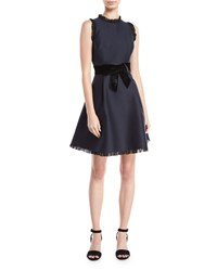 Kate Spade Velvet Bow Fit And Flare Sleeveless Cocktail Dress Rich Navy