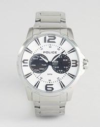 Police Visionary Mens Multi Functional White Dial Stainless Steel Bracelet Silver