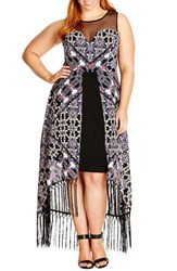 Plus Size Women's City Chic 'Tribal Fringe' High Low Maxi Dress
