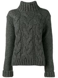 Ganni Cable Knit Jumper Grey