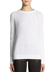Theory Brombly Ribbed Crewneck Sweater White