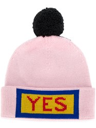 Fendi Yes Embroidered Beanie Hat Wool Pink Purple