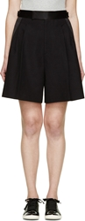 Marc Jacobs Black Cotton And Silk High Waist Pleated Shorts