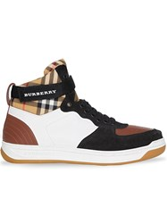 Burberry Leather And Suede High Top Sneakers Brown