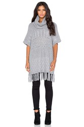 Autumn Cashmere Fringed Cowlneck Multi Stitch Poncho Gray