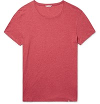 Orlebar Brown Ob T Slim Fit Melange Cotton Jersey T Shirt Tomato Red