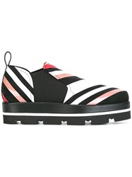 Msgm Printed Stripe Loafers Black