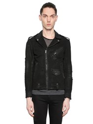 The Kooples Waxed Vintage Cotton Denim Biker Jacket