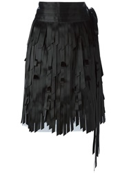 Chanel Vintage Layered Fringe Skirt Black