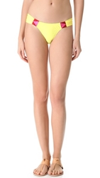 6 Shore Road By Pooja Rockhouse Embroidered Bikini Bottoms Lemon