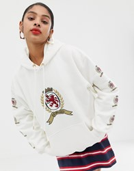 Tommy Jeans Capsule Crest Logo Hoodie Cloud Dancer 127 White