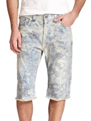 True Religion Dean Marble Washed Jean Shorts Blue Multi