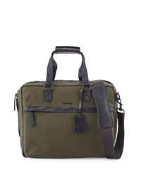 Cole Haan Leather Trim Canvas Messenger Bag Olive