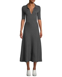Gabriela Hearst Elbow Sleeve V Neck A Line Mid Calf Wool Cashmere Dress Charcoal
