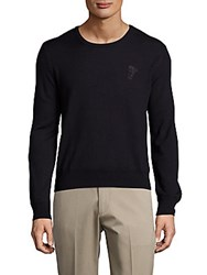 Versace Long Sleeve Solid Sweater Blue