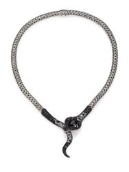 John Hardy Legends Cobra Semi Precious Multi Stone Diamond And Sterling Silver Necklace Silver Black Chalcedony